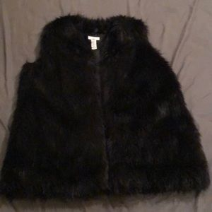 Bar III Black Faux Fur 3 Quarter Vest